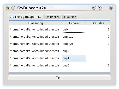dupedit with Qt graphical user interface (with tabs)